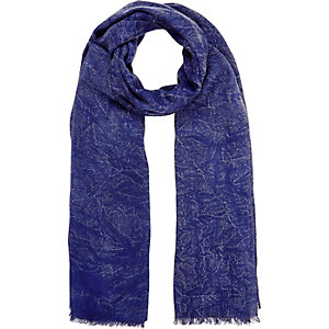 Boys blue marble look lightweight scarf
