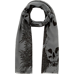 Boys khaki skull and feather scarf