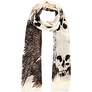 Boys ecru skull and feather scarf