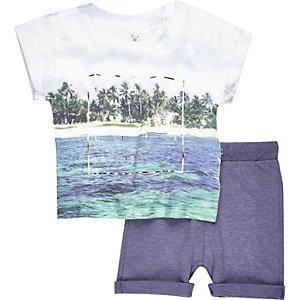 Boys mini blue print t-shirt and shorts set