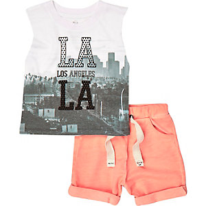 Mini boys orange LA tank and shorts outfit