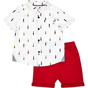 Mini boys red soldier shirt and shorts outfit