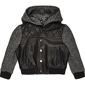 Mini boys black hooded bomber jacket