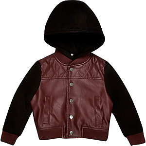 Mini boys leather-look hoodie jacket