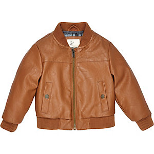 Mini boys brown perforated bomber jacket