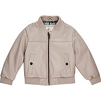 Mini boys grey perforated bomber jacket