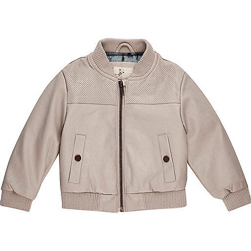 Mini boys grey perforated bomber jacket