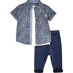 Mini boys blue shirt tank and joggers outfit