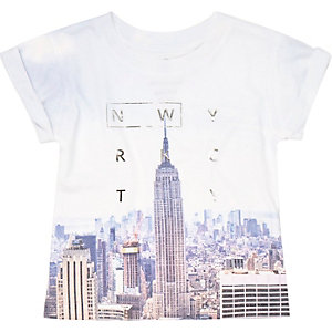 Mini boys blue New York print t-shirt
