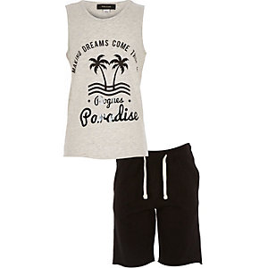 Boys grey paradise tank and shorts outfit