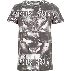 Boys black wolf collage print t-shirt
