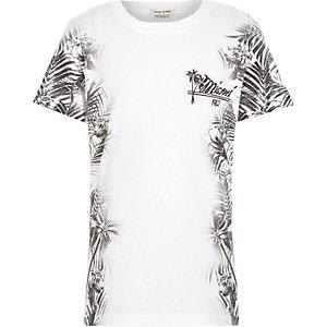 Boys white floral side print t-shirt
