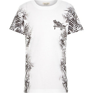 Boys white floral side print t-shirt