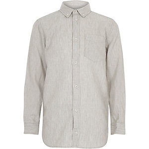 Boys grey waffle texture shirt
