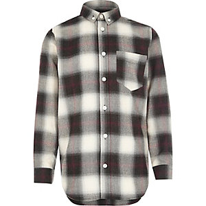 Boys ecru check shirt