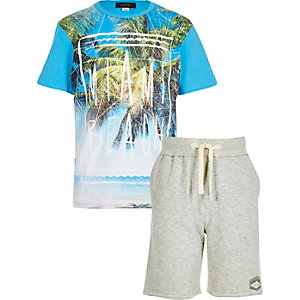 Boys blue Miami t-shirt and shorts outfit