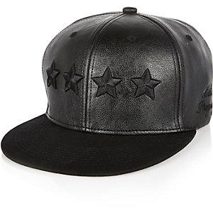 Boys black leather-look star cap