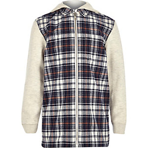 Boys ecru check panel shirt jacket