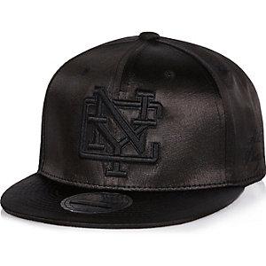 Boys black satin NYC snapback cap