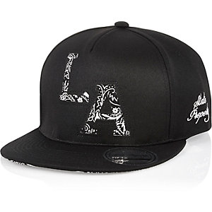 Boys black LA bandana print cap
