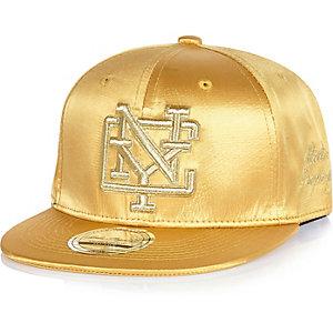 Boys gold satin NYC snapback cap