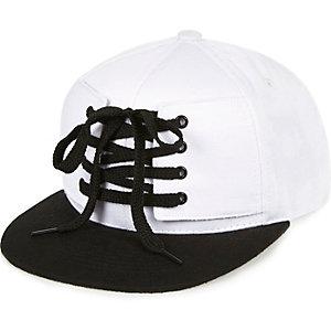 Boys white lace-up cap