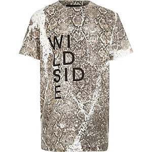 Boys ecru snake print t-shirt