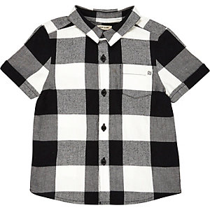 Mini boys black and white check shirt