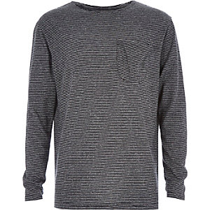 Boys grey fine stripe t-shirt
