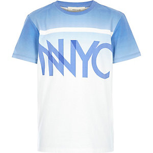 Boys blue faded NYC print t-shirt