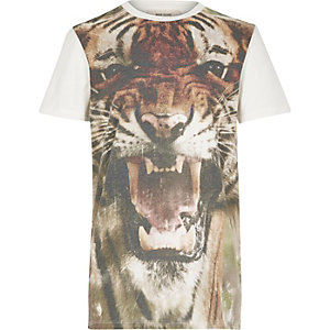 Boys ecru oversized tiger face t-shirt