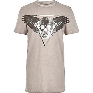 Boys grey skull wings print t-shirt