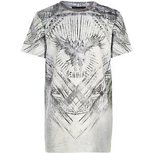 Boys white bird print t-shirt