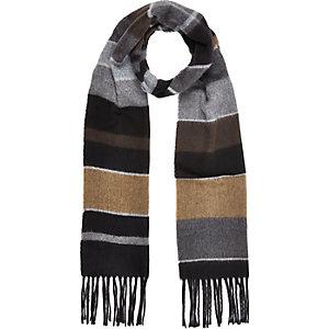 Boys grey stripe tassel scarf