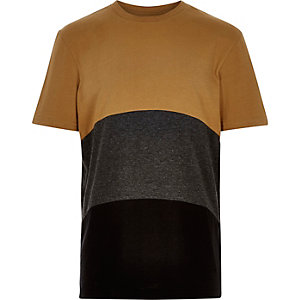 Boys tan curve colour block t-shirt