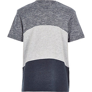 Boys navy curved stripe t-shirt