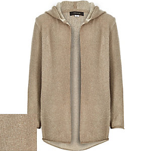 Boys dark beige plaited hooded cardigan