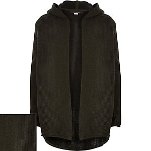 Boys khaki plaited hooded cardigan