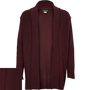 Boys dark red knitted open cardigan
