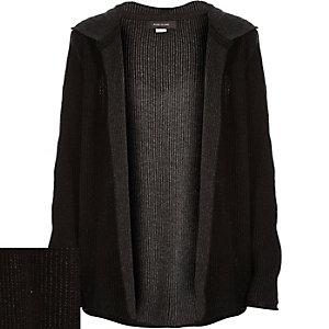 Boys grey plaited hooded cardigan