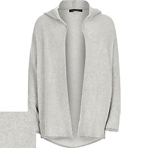 Boys grey plaited hooded cardigan