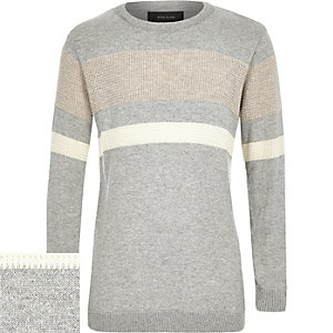 Boys grey colour block jumper