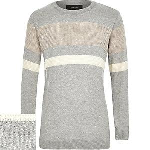 Boys grey color block sweater