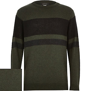 Boys khaki block colour jumper