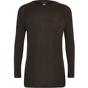 Boys brown woven jumper