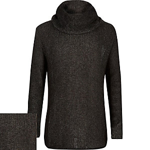 Boys grey cowl neck sweater