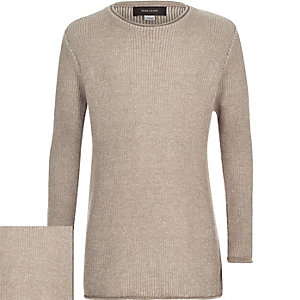 Boys dark beige plaited sweater