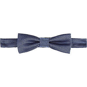 Boys blue chambray bow tie