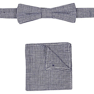 Boys navy dogtooth bow tie pocket square set