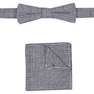 Boys navy dogtooth bow tie pocket square set